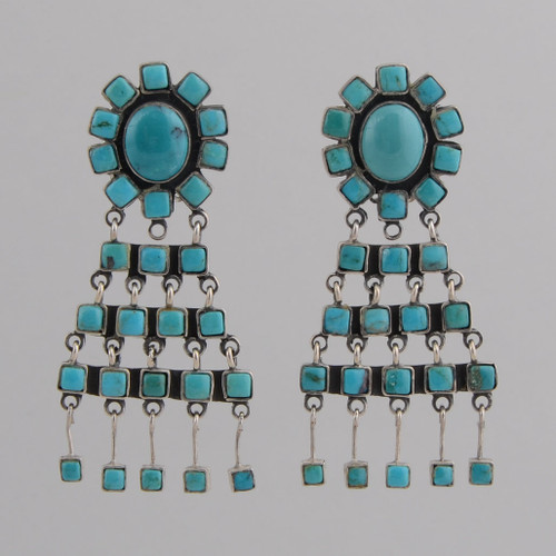 Sterling Silver Clip Earrings w/ Turquoise Blossom Design w/ Triangle Dangle.