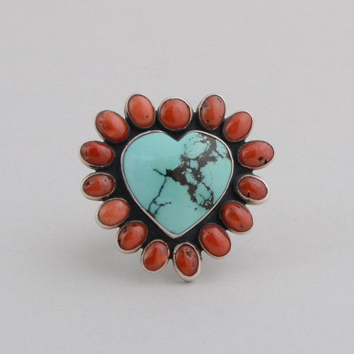 Sterling Silver Nevada Turquoise /w Red Coral Heart Ring, Flower on Shank.