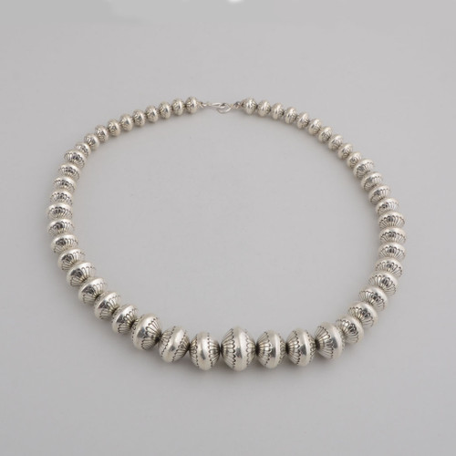 "Sterling Silver Graduated 22"" Navajo Pearls by Marie Yazzie"
