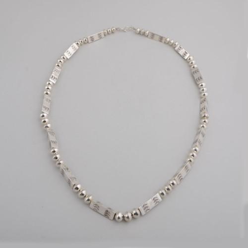 """Sterling Silver 30"""" Navajo Pearls by Jeffery Nelson"""