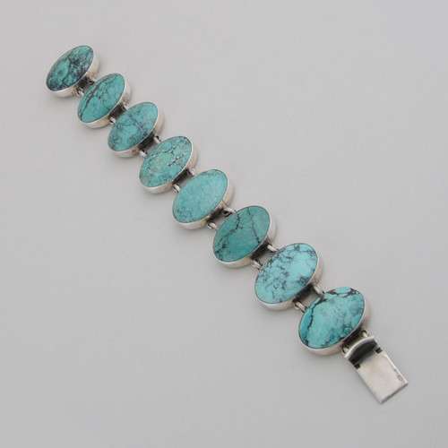 Sterling Silver Blue/Green Nevada Turquoise Large Oval Shape Link Bracelet /w Box Clasp.