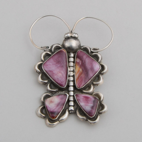 Sterling Silver Butterfly Pin with Purple Spiny Oyster Shell.