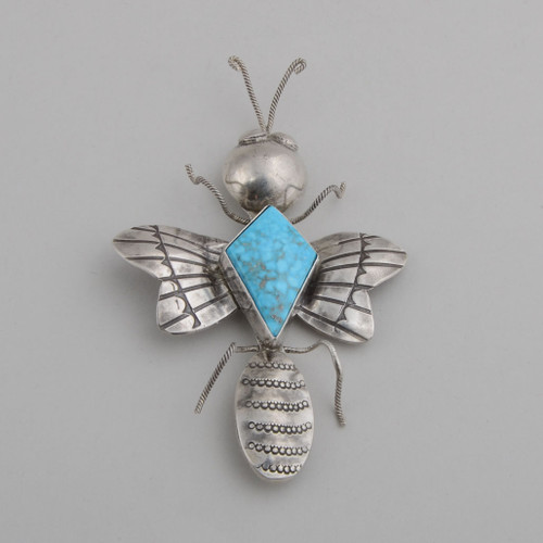 Bug Pin with Turquoise by Joe Eby