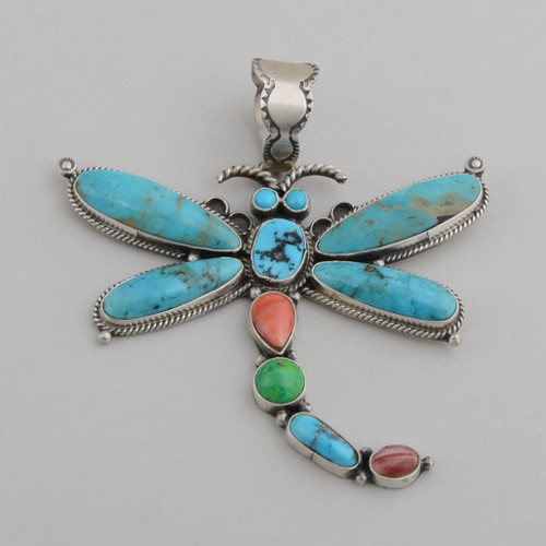 Sterling Silver Dragonfly Pendant with Turquoise, Orange Spiny Oyster Shell, Howlite, Purple Spiny Oyster Shell.  Navajo Made - No Hallmark