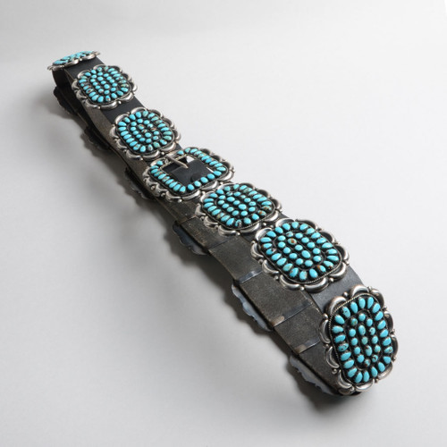 Vintage Sleeping Beauty Turquoise Sterling Silver Concho Belt
