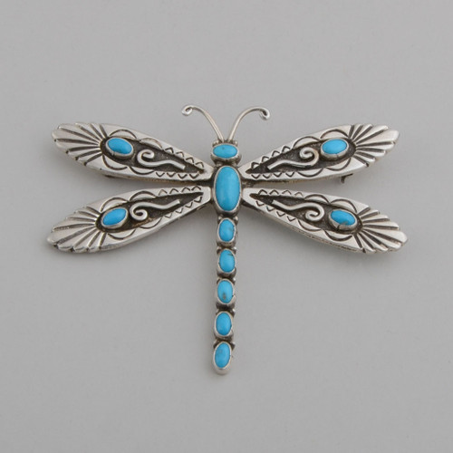 Turquoise Dragonfly Pin by Lee Charley