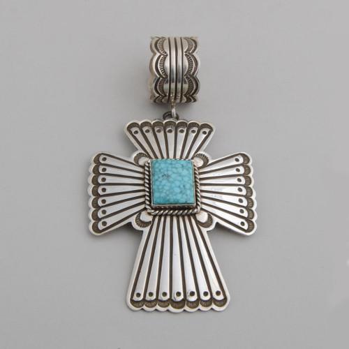 Sterling Silver Cross with Birdseye Kingman Turquoise.
