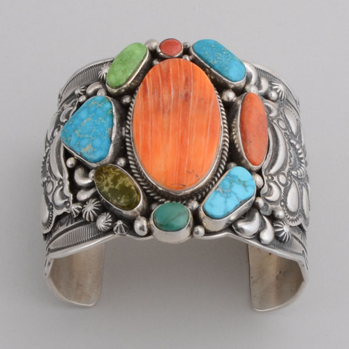 Sterling Silver Cuff w/ Oval Orange Spiny Oyster Shell, 4 Different Turquoise, Red Coral.