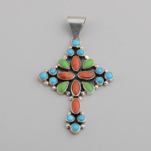 Multi Stones with Sterling Silver Cross by Mario D.