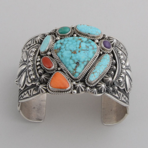 Sterling Silver Cuff w/ Turquoise Mountain, #8 Turquoise, Orange Spiny Oyster Shell, Red Coral, Sugilite.