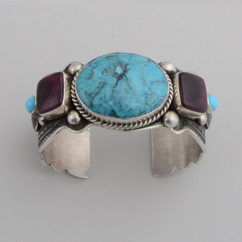 Sterling Silver Cuff w/ Ithaca Peak Turquoise, Sugilite, Sleeping Beauty Turquoise.