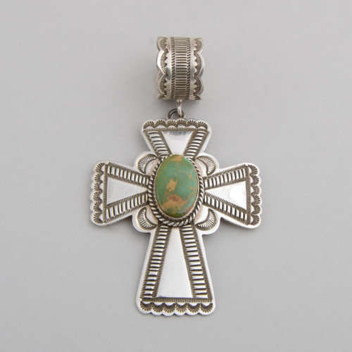 Royston Turquoise and Sterling Silver Cross by Arnold Blackgoat