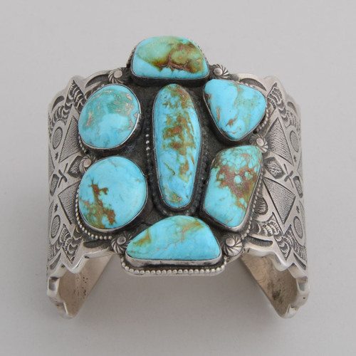 Sterling Silver Cuff w/ Nevada Blue Turquoise.