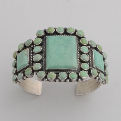 Sterling Silver Cuff w/ Turquoise, 3 Large Stones, Multiple Round Stones.