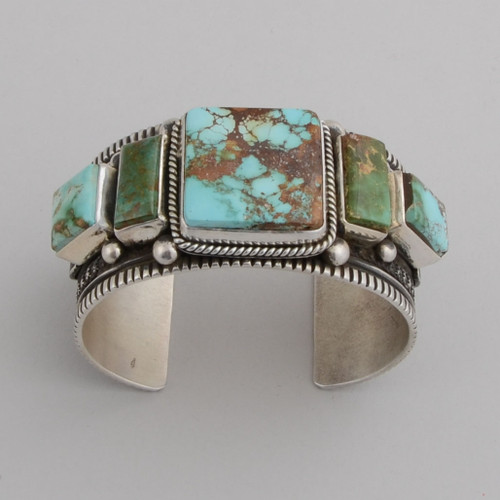 Sterling Silver Cuff w/ Royston Turquoise, 5 Stones.