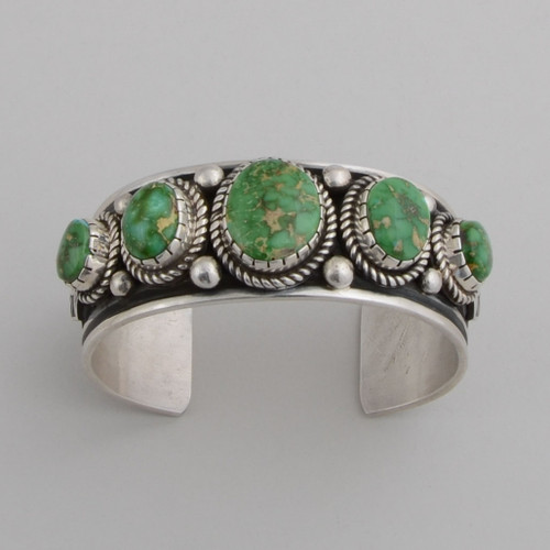 Sterling Silver Cuff w/ Sonoran Green Turquoise, 5 Stones.