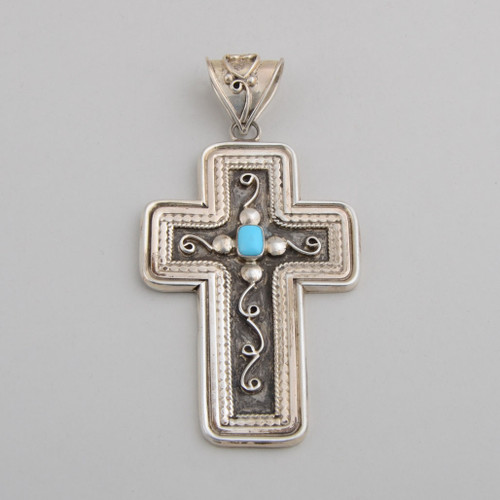 Turquoise and Sterling Silver Cross, Navajo Made