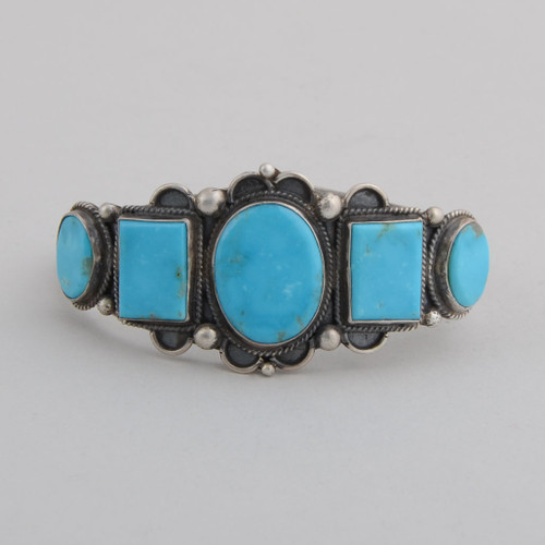 Sterling Silver Cuff w/ Nevada Blue Turquoise, 5 Stones.