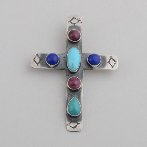 Multi Stones with Sterling Silver Cross by Robert Joe