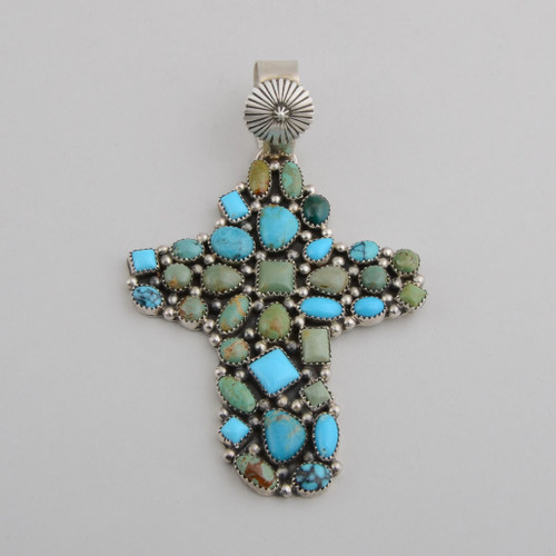 Sterling Silver and Turquoise Cross, Navajo Made