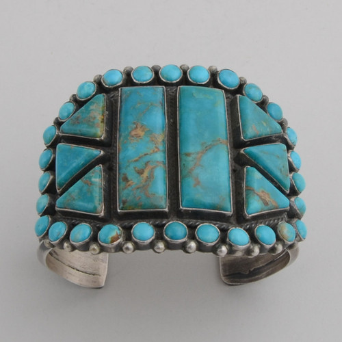 Sterling Silver Cuff w/ Emerald Valley Turquoise, 8 Stones, Multiple Round Stones.