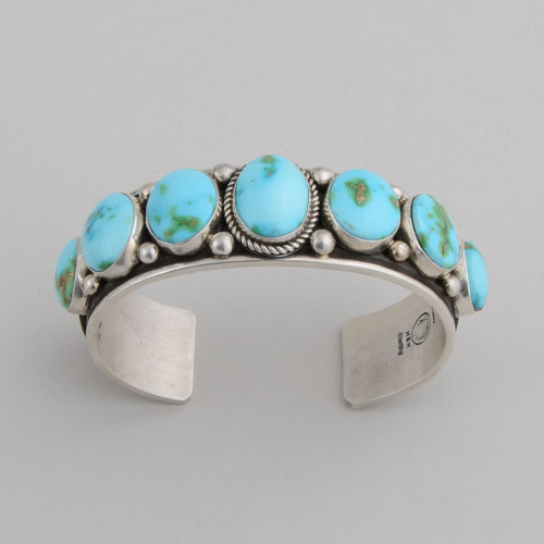 Sterling Silver Cuff w/ Sonoran Turquoise, Stamped Silver Inside/Outside, 7 stones.