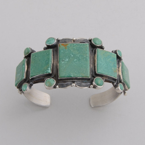 Sterling Silver Cuff w/ Emerald Valley Turquoise, 5 Stones w/ 8 Round Stones.
