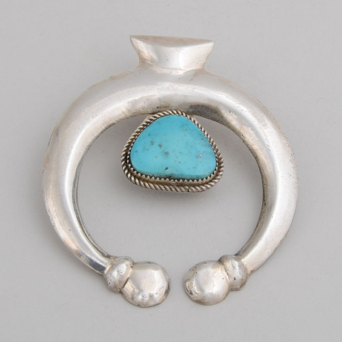 Sterling Silver and Turquoise Naja Pendant by Eugene Mitchell