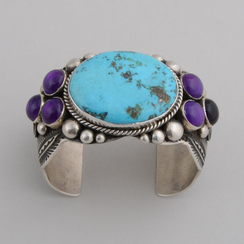 Sterling Silver Cuff w/ Morenci Turquoise, Amethyst, Bruce Eckhart/Stone Cutter.
