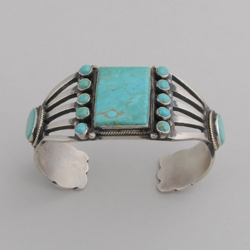 Sterling Silver Cuff w/ Nevada Blue Turquoise, 3 Stones, Multiple Round Stones, Stamped Silver Inside/Outside.
