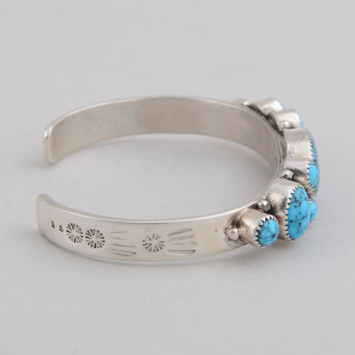 Sterling Silver Cuff w/ Kingman Turquoise, Multiple Stones.