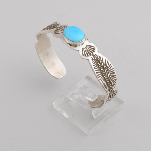 Sterling Silver Cuff w/ Sleeping Beauty Turquoise, Stamped Silver.