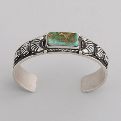Sterling Silver Cuff w/ Royston Turquoise, Stamped and Repousse Silver Work.