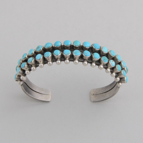 Sterling Silver Cuff w/ Sleeping Beauty Turquoise, 2 rows Multiple Stones.