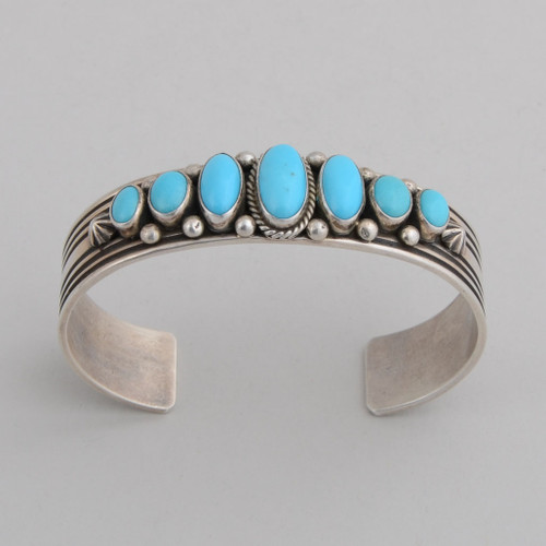 Sterling Silver Cuff w/ Sleeping Beauty Turquoise, 7 Stones.