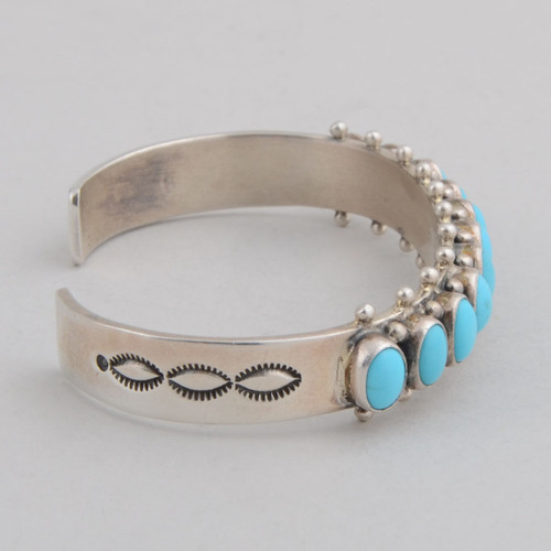 Sterling Silver Cuff w/ Sleeping Beauty Turquoise, 11 Stones.