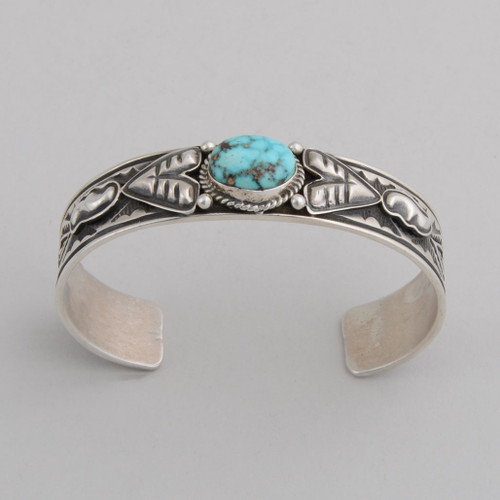 Sterling Silver Cuff w/ Royston Turquoise, Stamped and Repousse Silver.