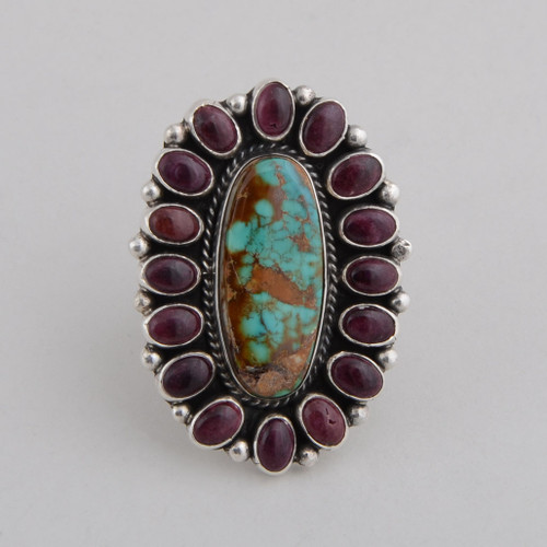 Sterling Silver Ring with Turquoise and Purple Spiny Oyster Shell.  Size 8 1/2