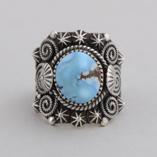 Sterling Silver Ring with Golden Hills Turquoise.  Very Detailed Silver Work.  Size 10 1/2.