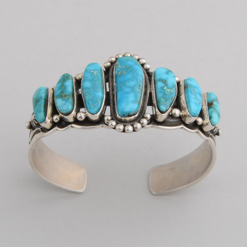 Sterling Silver Cuff w/ Kingman Turquoise, 7 Stones, Stamped Silver.