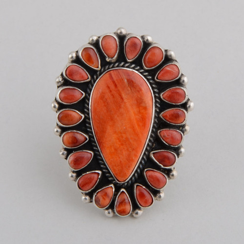 Sterling Silver Ring with Orange Spiny Oyster Shell.  Sterling Silver Beads Between the Small Pieces.  Size 9 1/2.