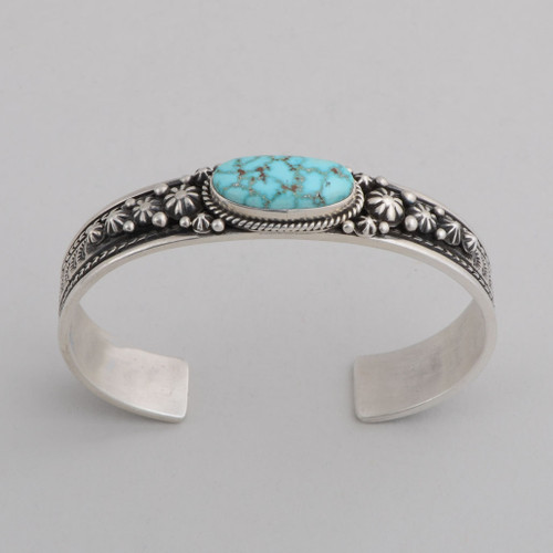 Sterling Silver Cuff w/ Kingman Turquoise, Stamped Silver.