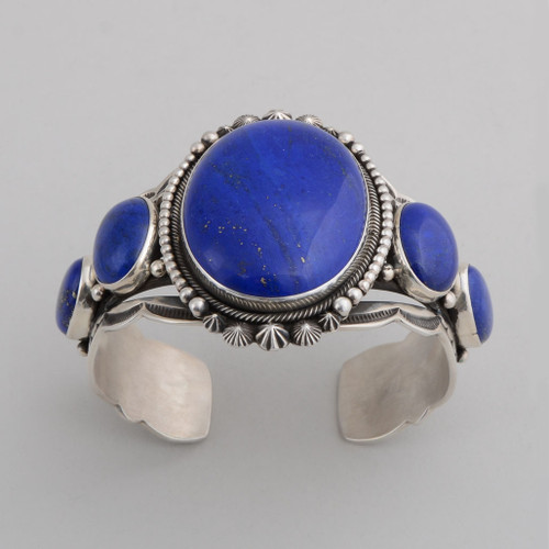 Sterling Silver Cuff w/ Lapis Lazuli, 1 Large , 4 Medium Stones, Stamped Silver.
