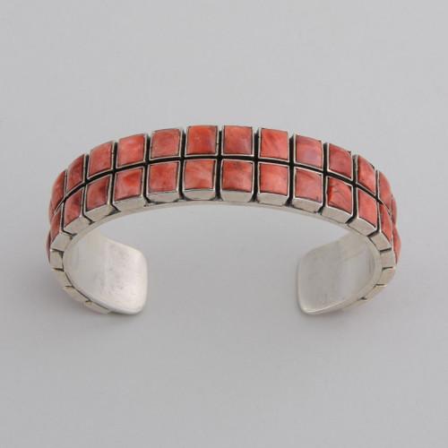 Sterling Silver Orange Spiny Oyster Shell Tile Bracelet.