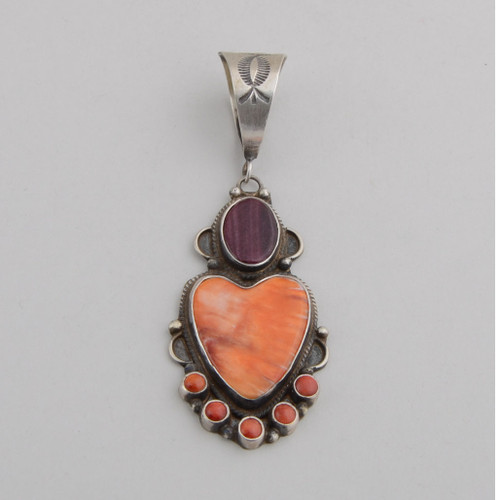 Sterling Silver Pendant with Purple, Orange, and Red Spiny Oyster Shell Set as a Stylized Heart.