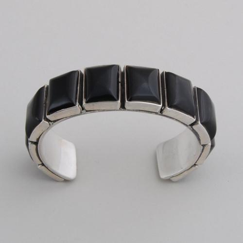 """Sterling Silver Black Onyx Bracelet, Stone Size: 3/4"""" x  5/8""""."""