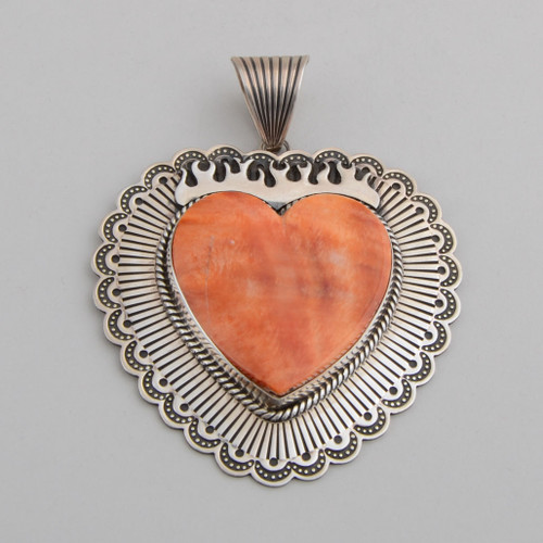 Spiny Oyster Shell Heart Pendant by Albert Jake