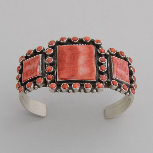 Sterling Silver Cuff w/ Orange Spiny Oyster Shell, 1 Large, 2 Medium, Multiple Small Stones.