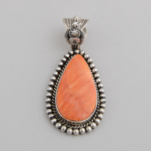 Sterling Silver Pendant with Orange Spiny Oyster Shell.  Silver Detail Includes the Bale and the Beads Around the Spiny Oyster Shell.