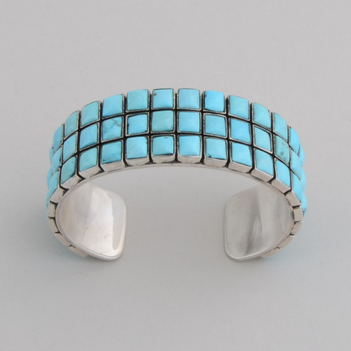 "Sterling Silver Nevada Blue Turquoise Tile Bracelet , 60 1/4"" x 1/4"" Stones"